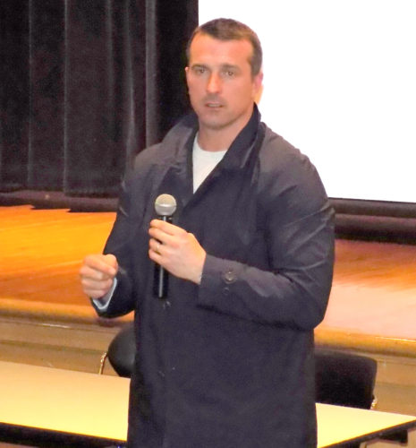 c28dbf00950 Christopher Herren spoke at Lynnfield Middle School on March 12 to share  his story about being addicted to drugs and alcohol. (Advocate Photo by  Christopher ...